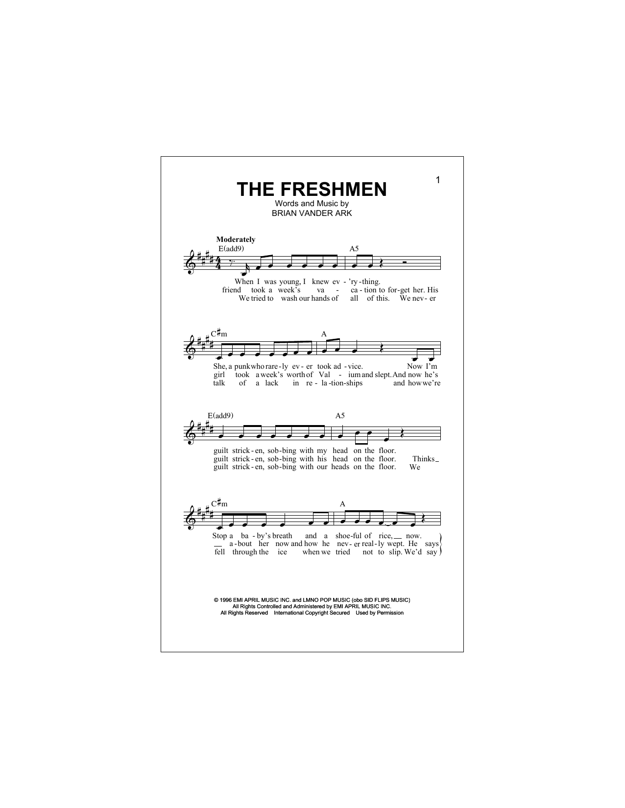The Freshmen Chords By The Verve Pipe Melody Line Lyrics Chords