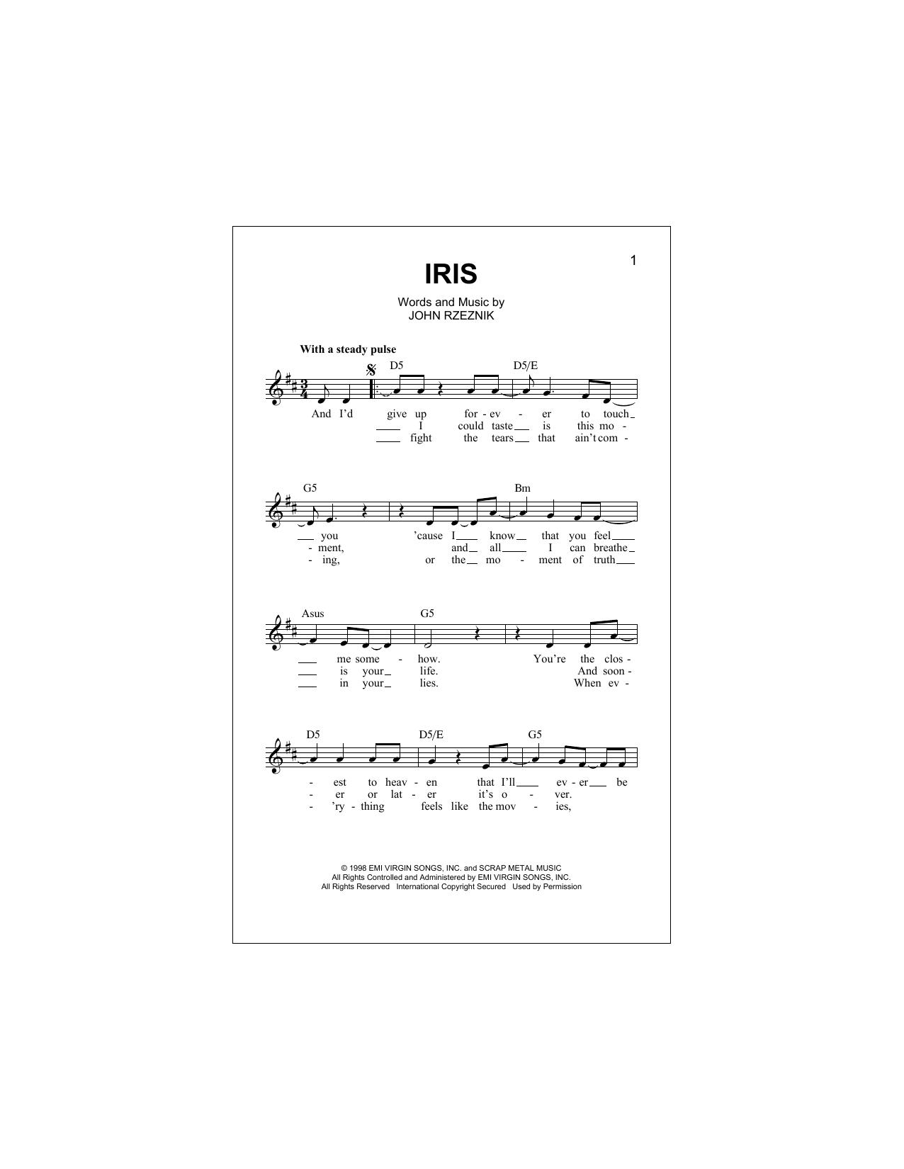 Iris Sheet Music Goo Goo Dolls Melody Line Lyrics Chords