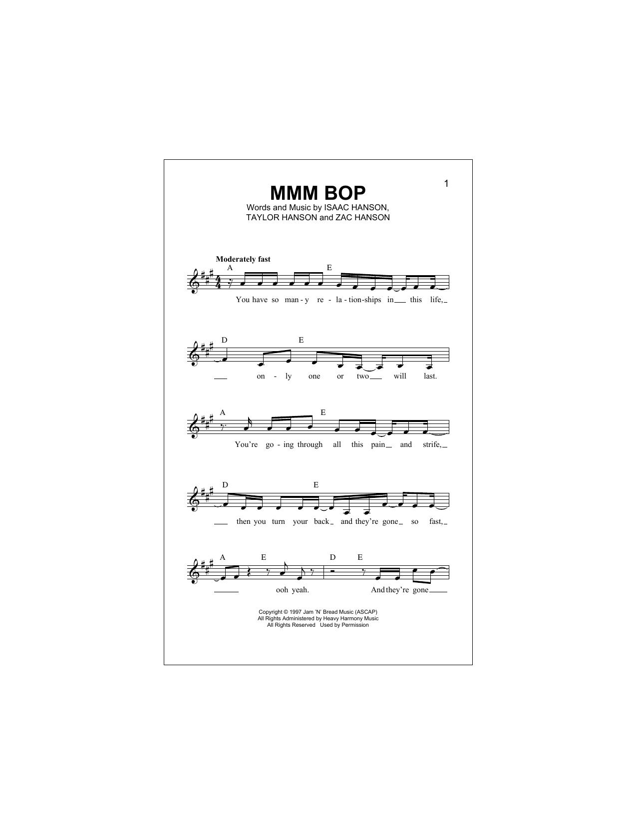 MMM Bop (Lead Sheet / Fake Book)