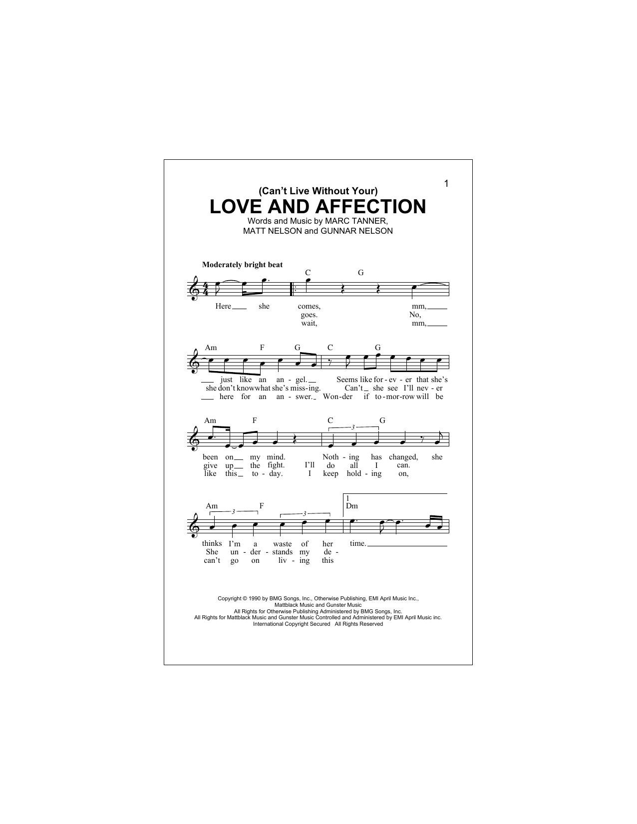 (Can't Live Without Your) Love And Affection (Lead Sheet / Fake Book)