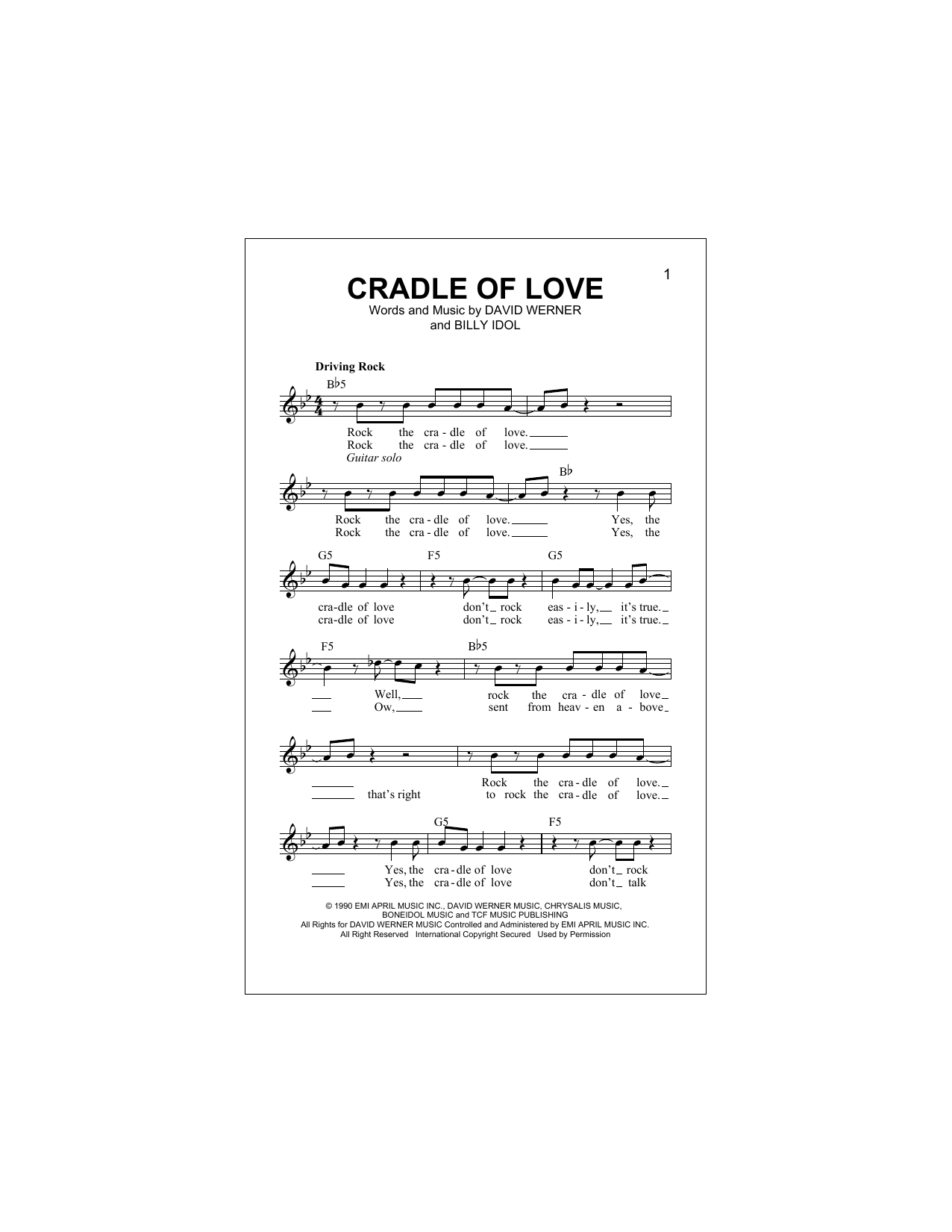 Cradle Of Love Sheet Music