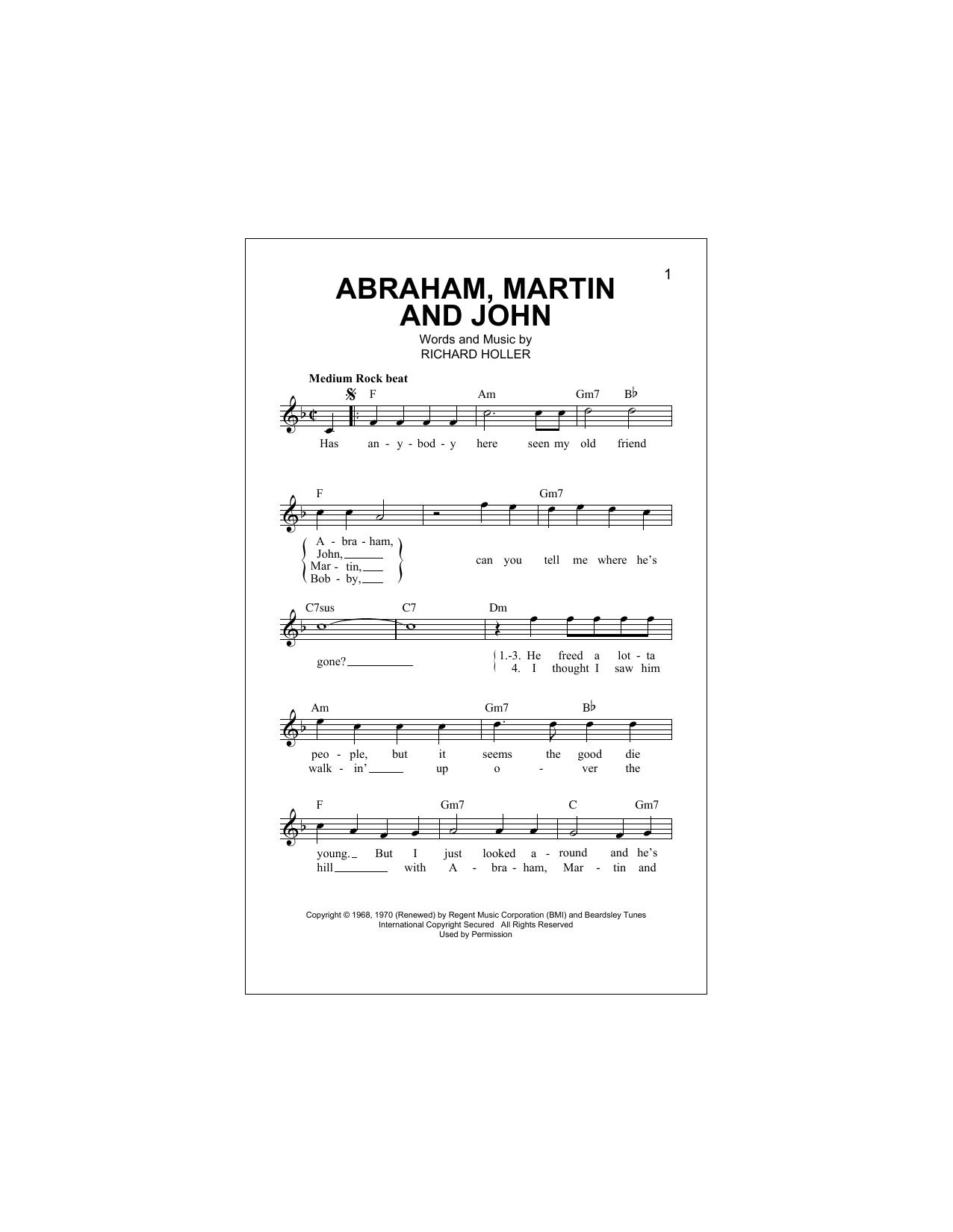 Abraham, Martin And John Sheet Music