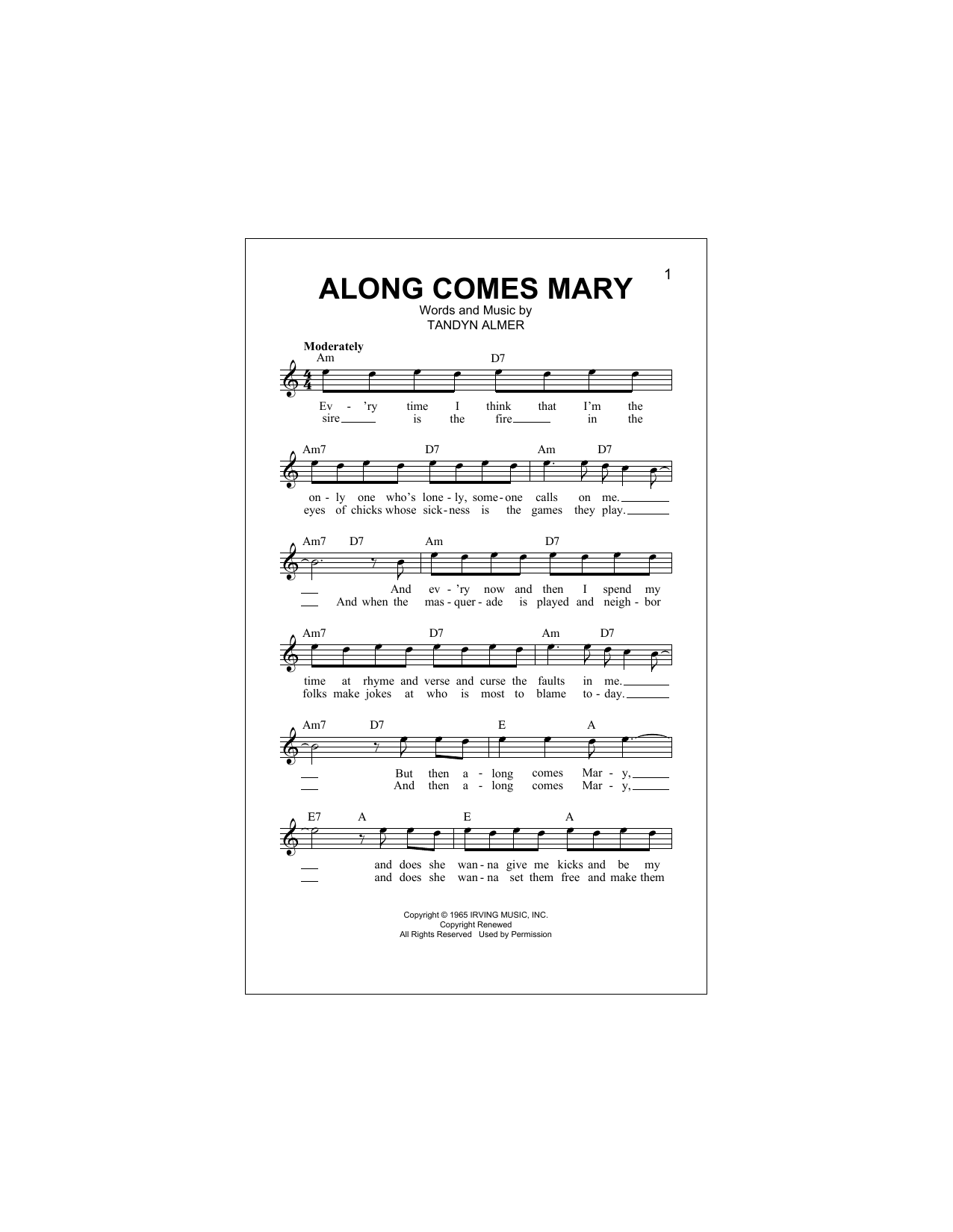 Along Comes Mary (Lead Sheet / Fake Book)