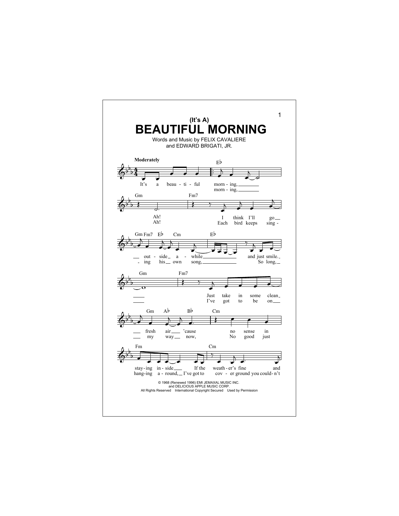 (It's A) Beautiful Morning (Lead Sheet / Fake Book)