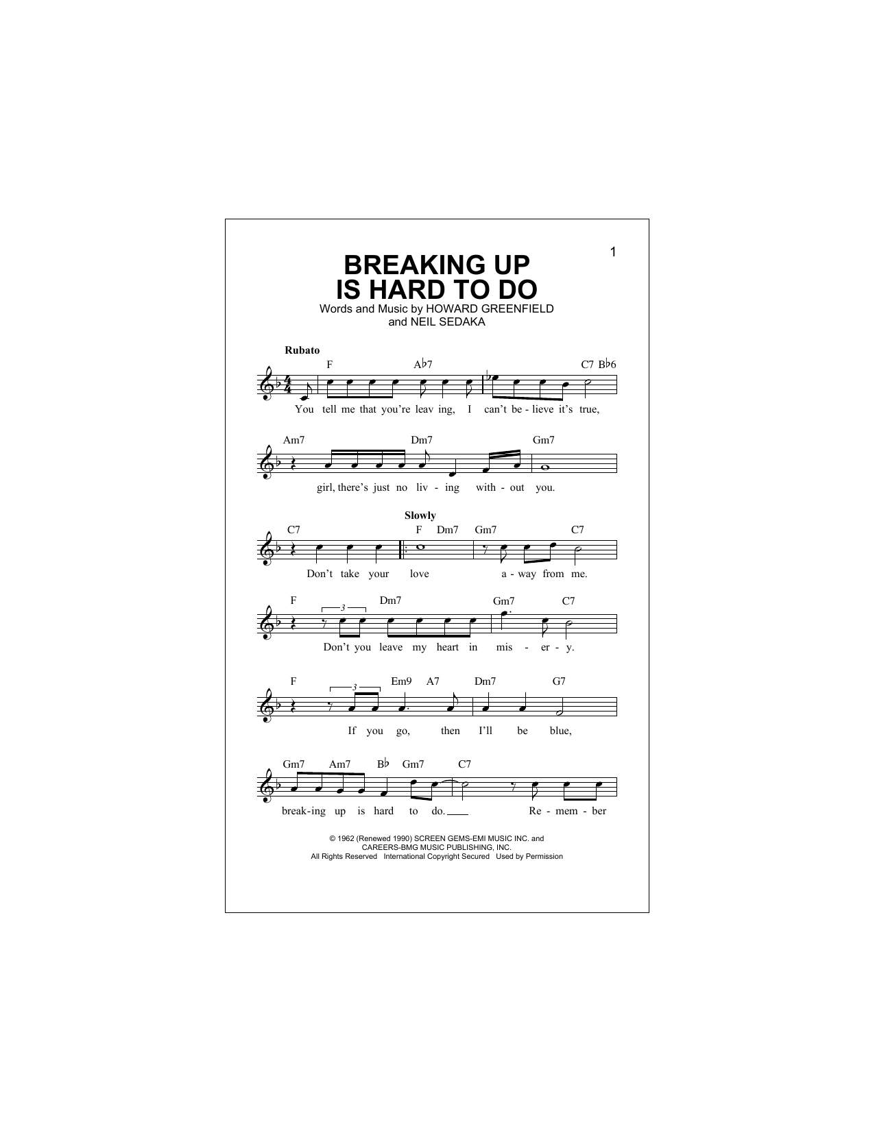 Breaking Up Is Hard To Do (Lead Sheet / Fake Book)