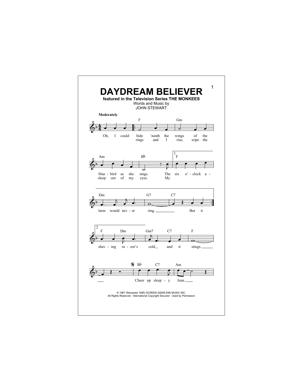 Daydream Believer The Monkees Melody Line Lyrics Chords