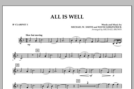 All Is Well - Bb Clarinet 1 (Concert Band)