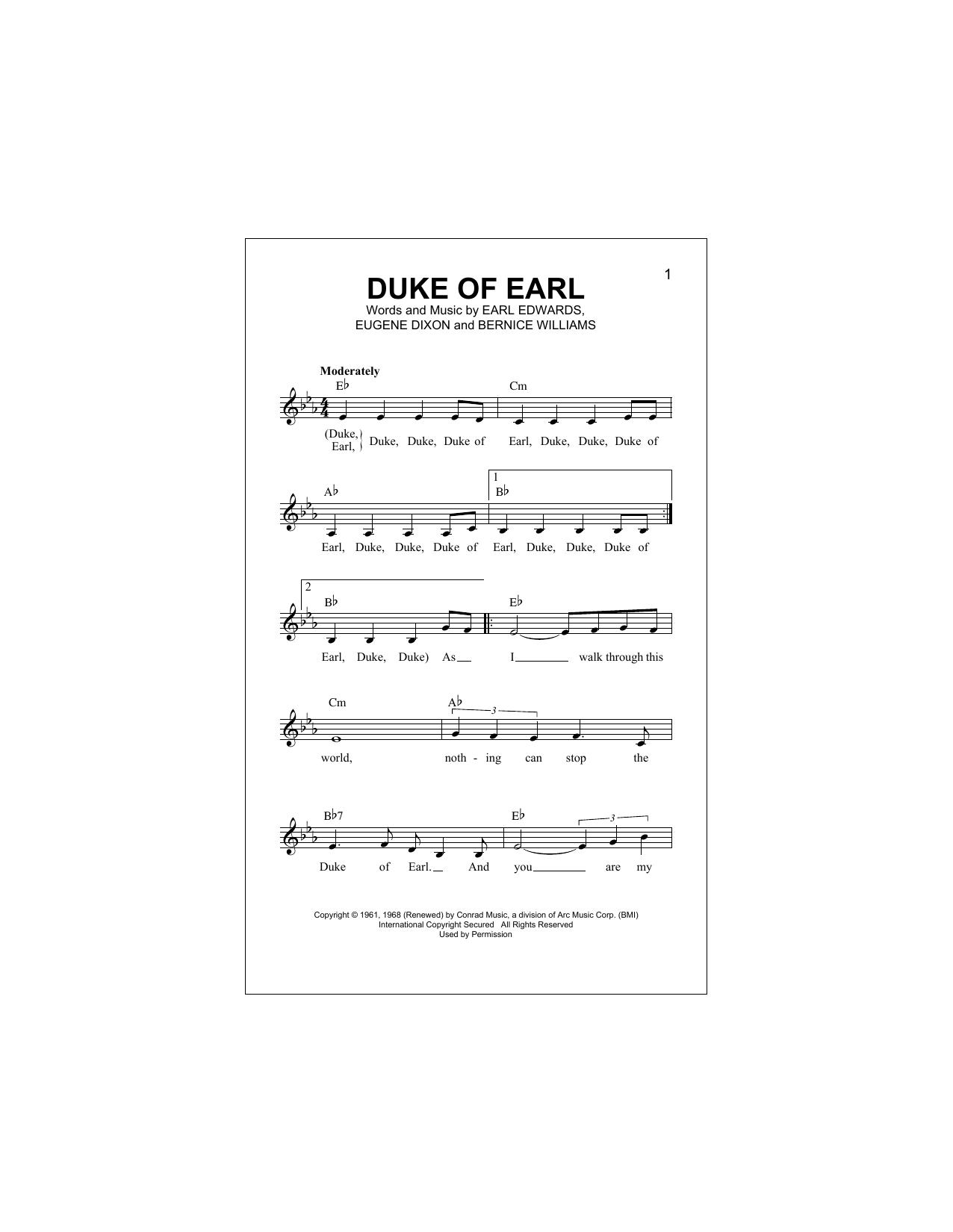 Duke Of Earl (Lead Sheet / Fake Book)