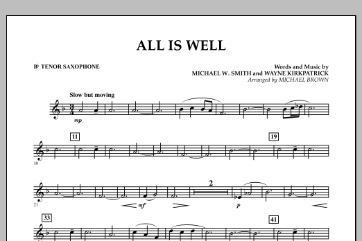 All Is Well - Bb Tenor Saxophone (Concert Band)