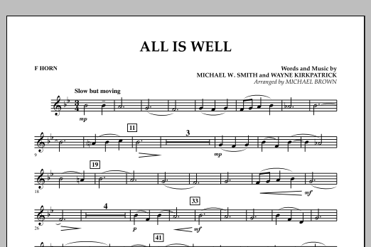 All Is Well - F Horn (Concert Band)