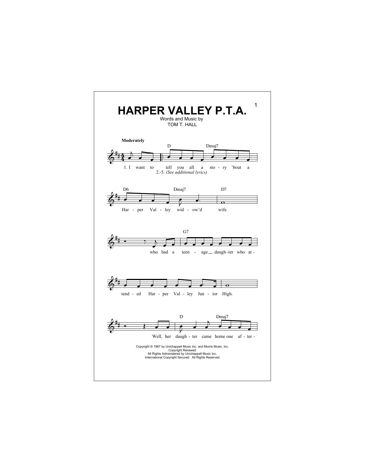 Harper Valley P.T.A. Sheet Music