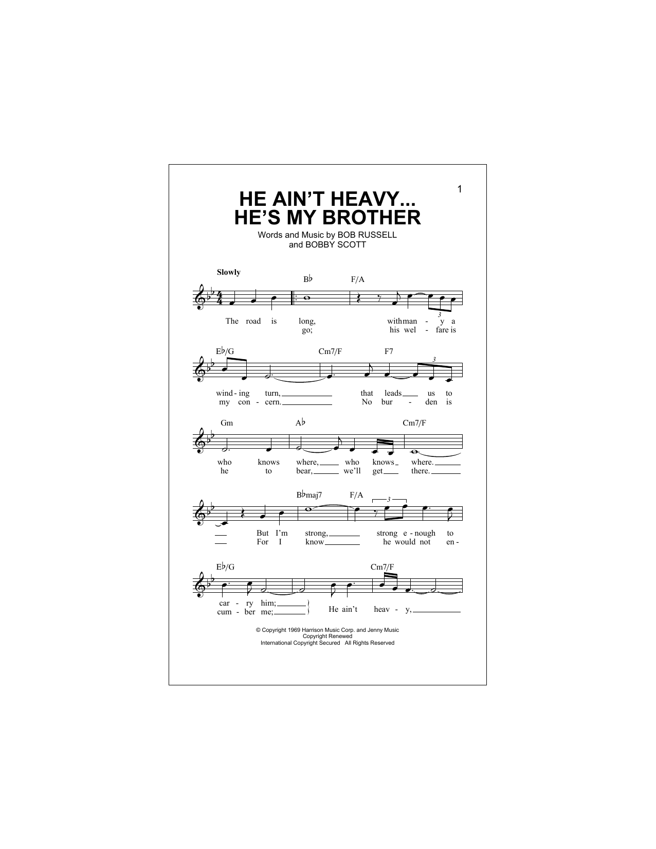 He Ain't Heavy, He's My Brother (Lead Sheet / Fake Book)