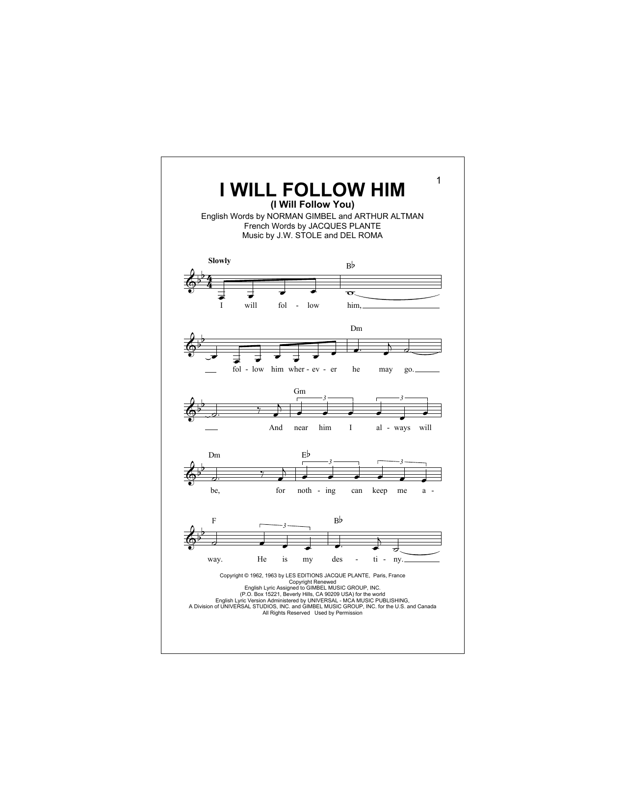 I Will Follow Him (I Will Follow You) Sheet Music