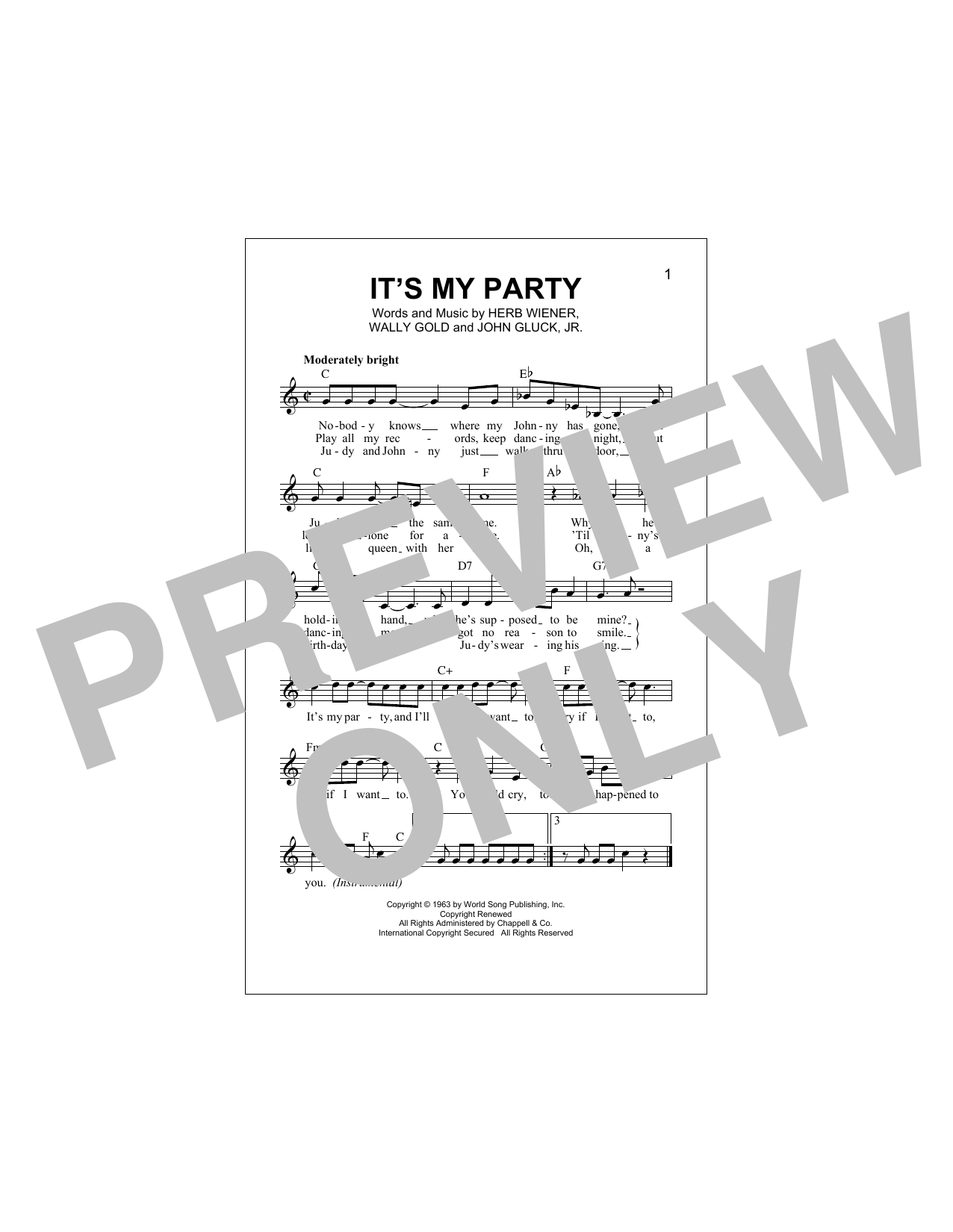 It's My Party Sheet Music