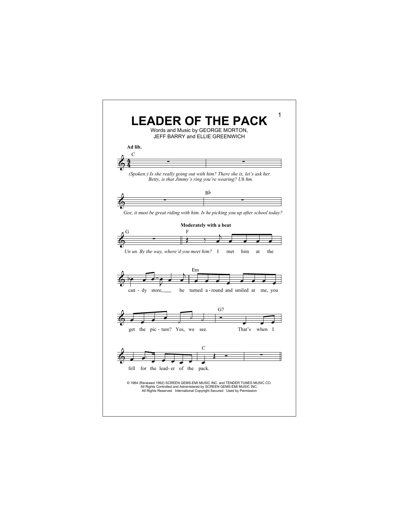 Leader Of The Pack (Lead Sheet / Fake Book)