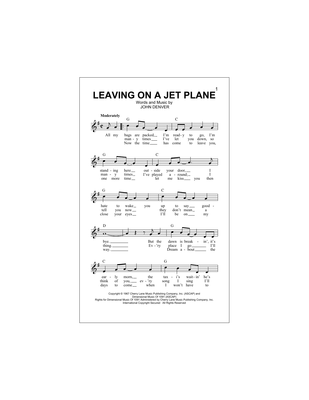 Leaving on a jet plane chords by john denver melody line lyrics john denver leaving on a jet plane melody line lyrics chords hexwebz Gallery