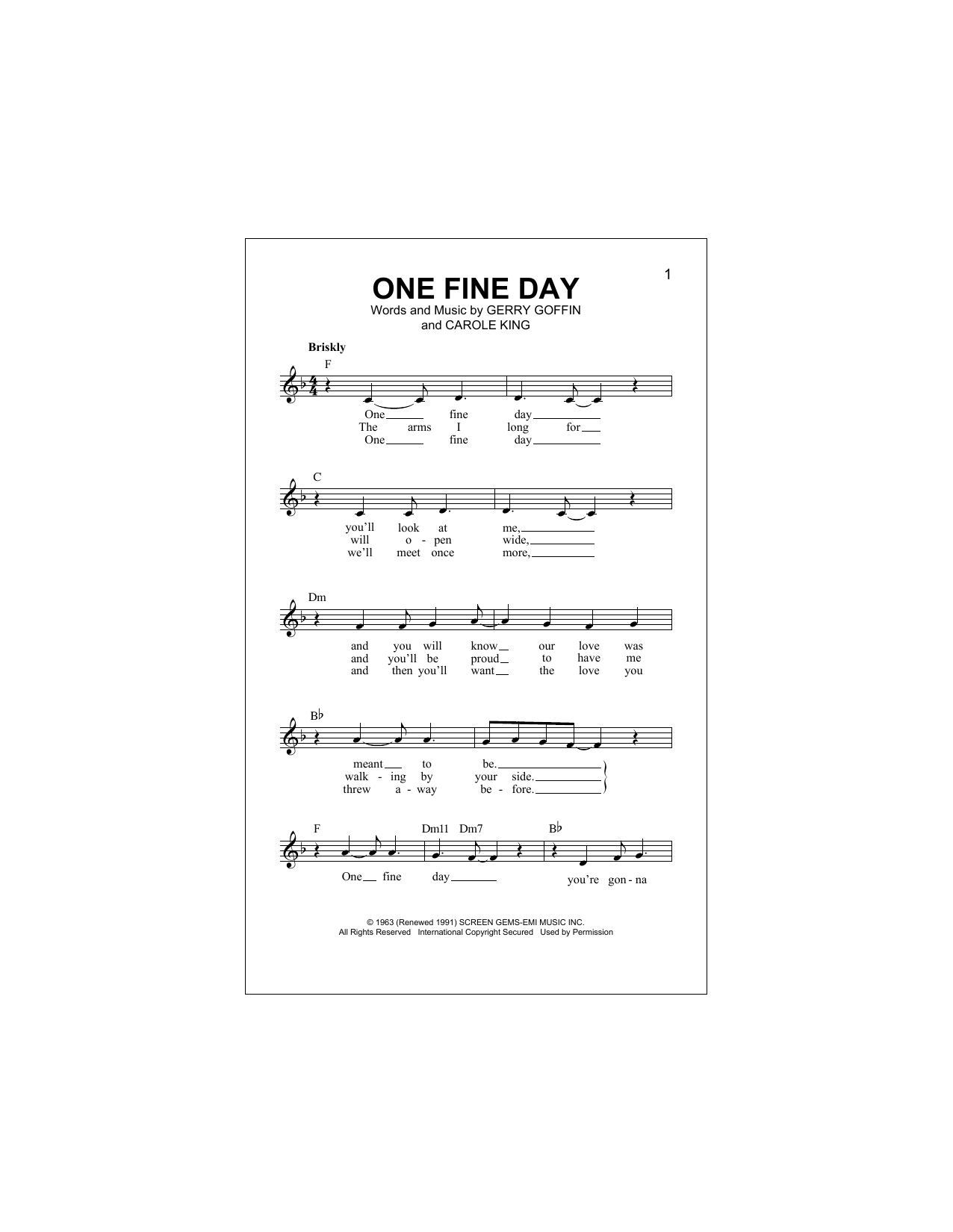 One Fine Day Sheet Music
