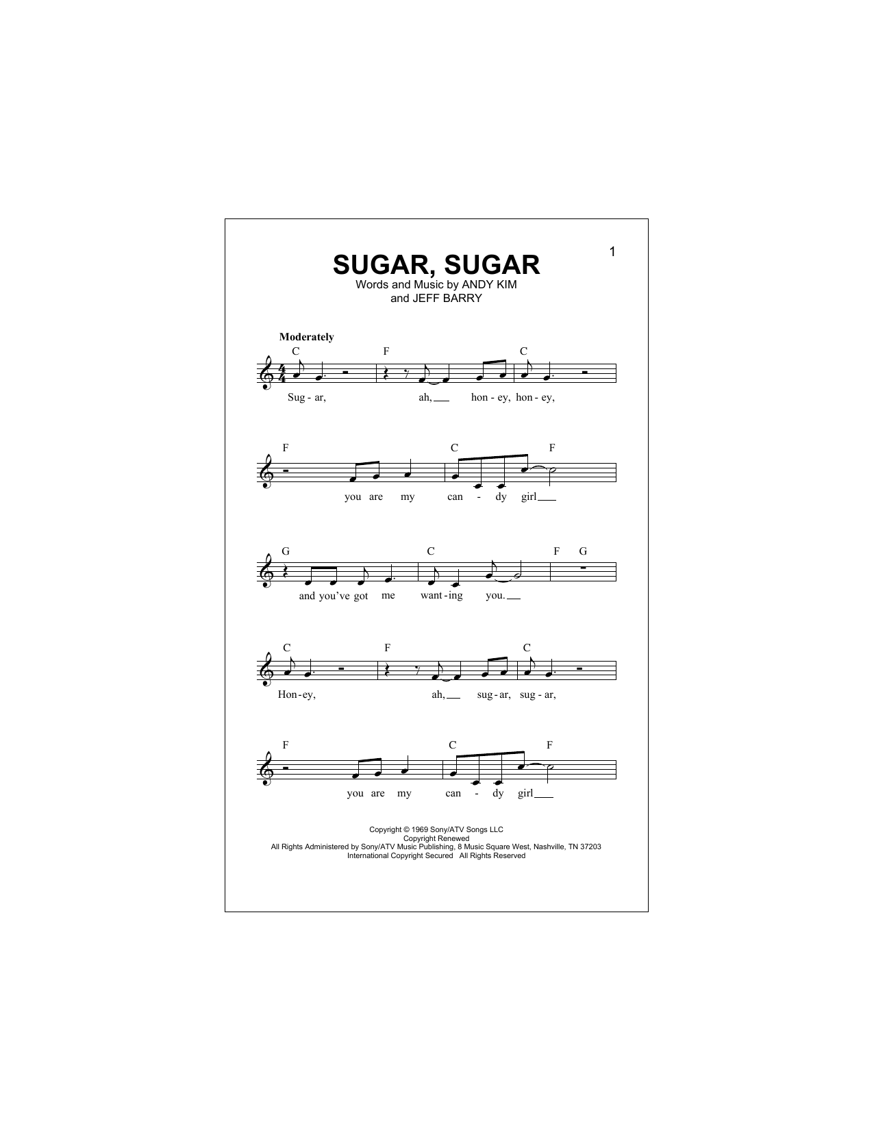 Sugar, Sugar Sheet Music