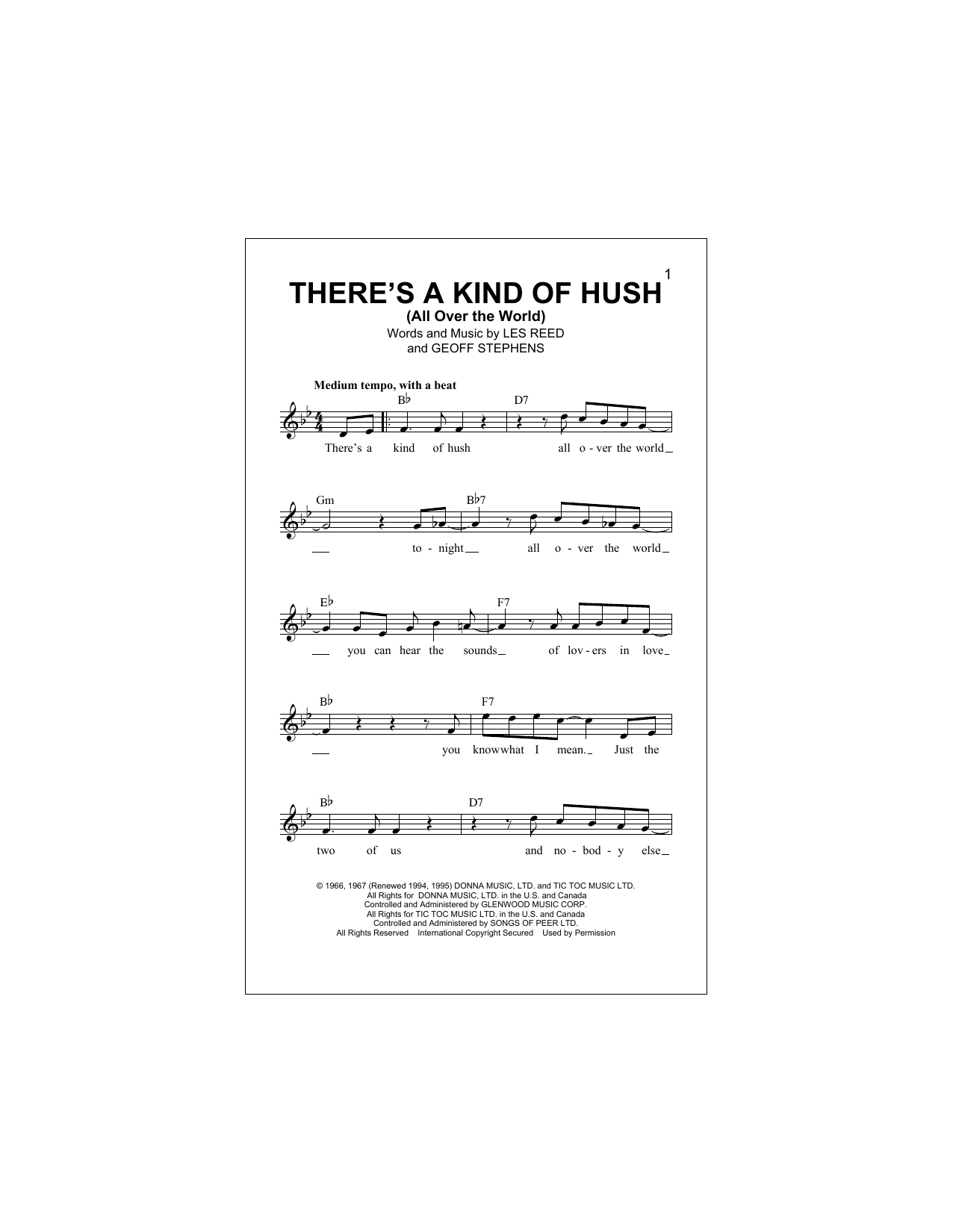 There's A Kind Of Hush (All Over The World) Sheet Music