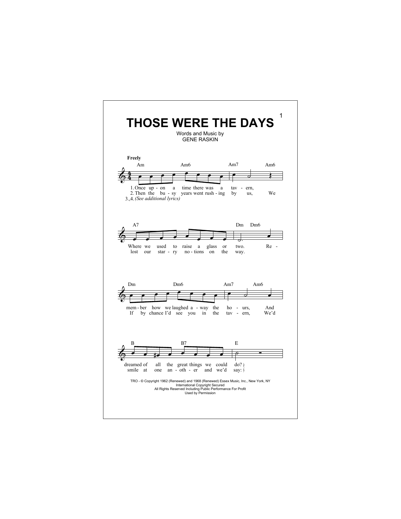Those Were The Days Sheet Music