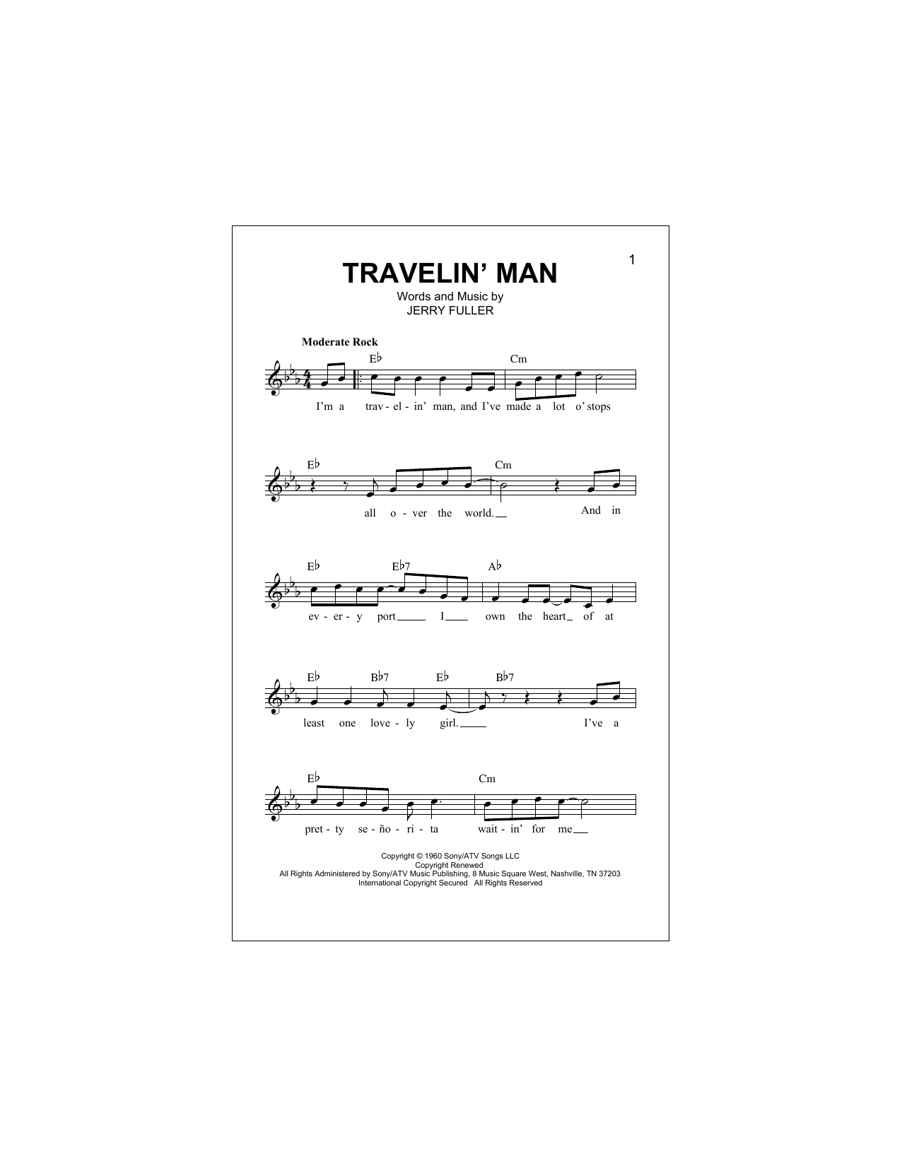 Travelin' Man Sheet Music