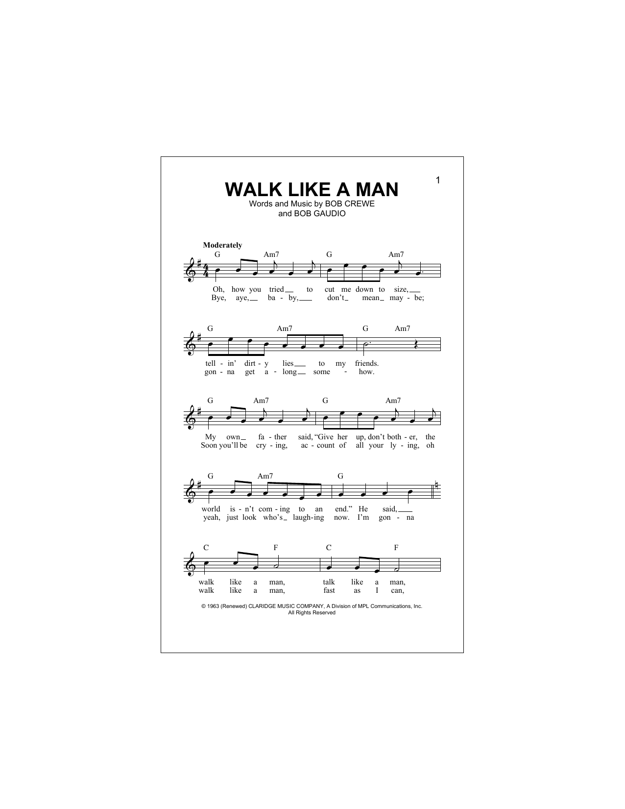 Walk Like A Man Sheet Music