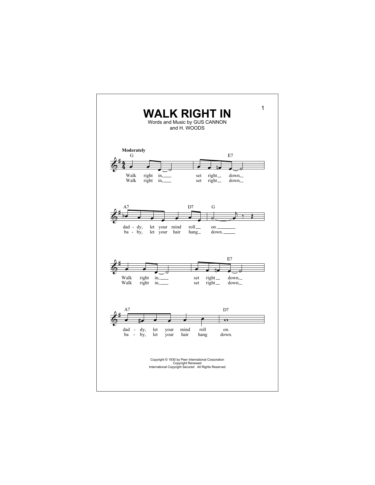Walk Right In (Lead Sheet / Fake Book)