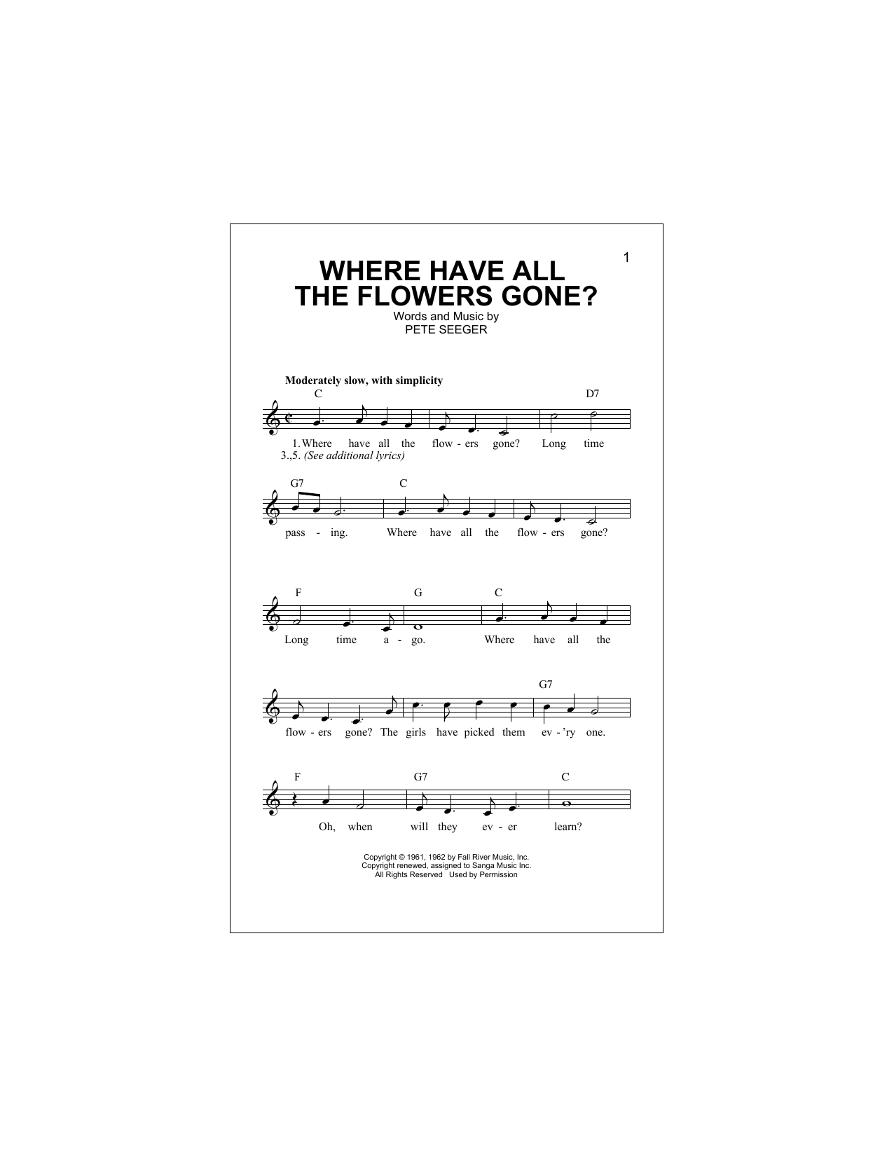 Where Have All The Flowers Gone? (Lead Sheet / Fake Book)