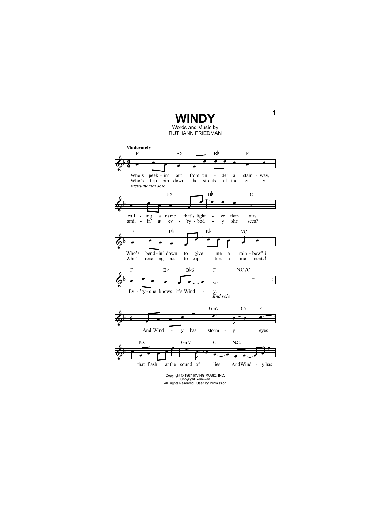 Windy Sheet Music