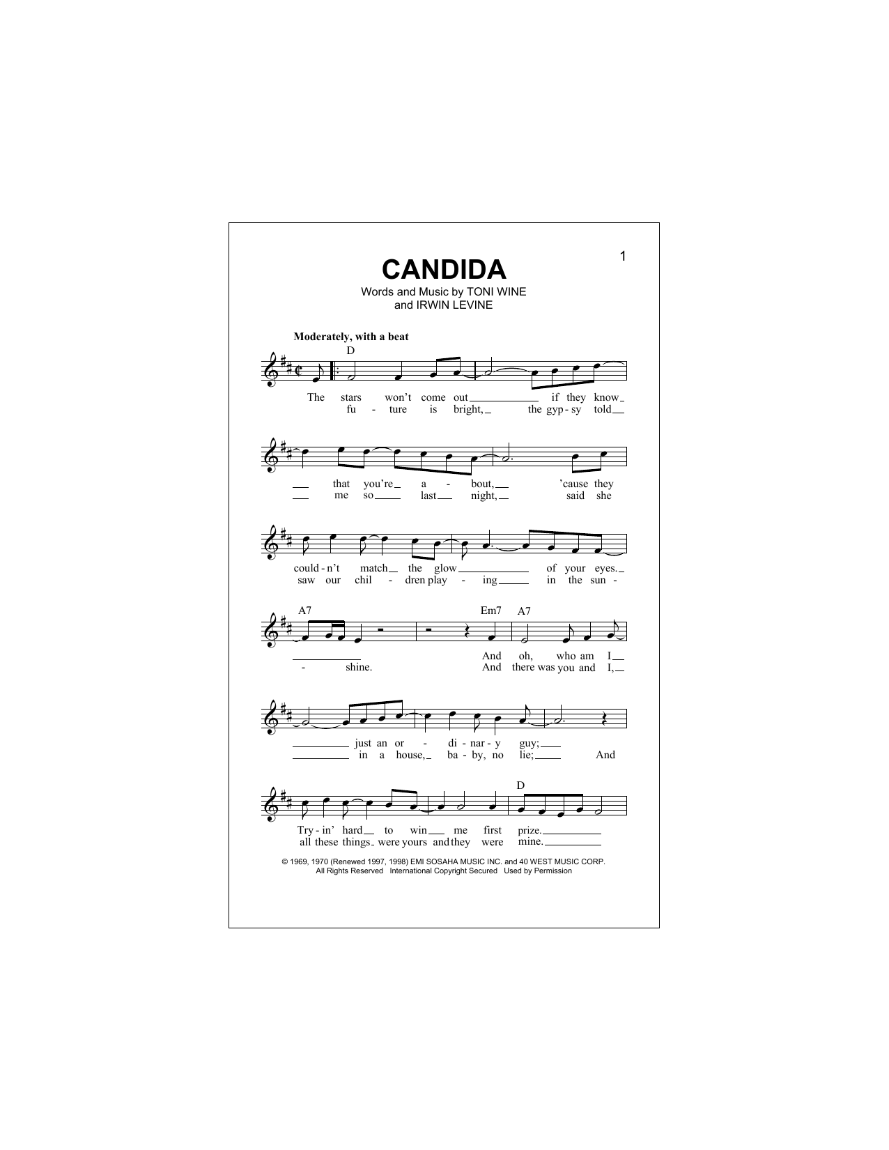 Candida (Lead Sheet / Fake Book)