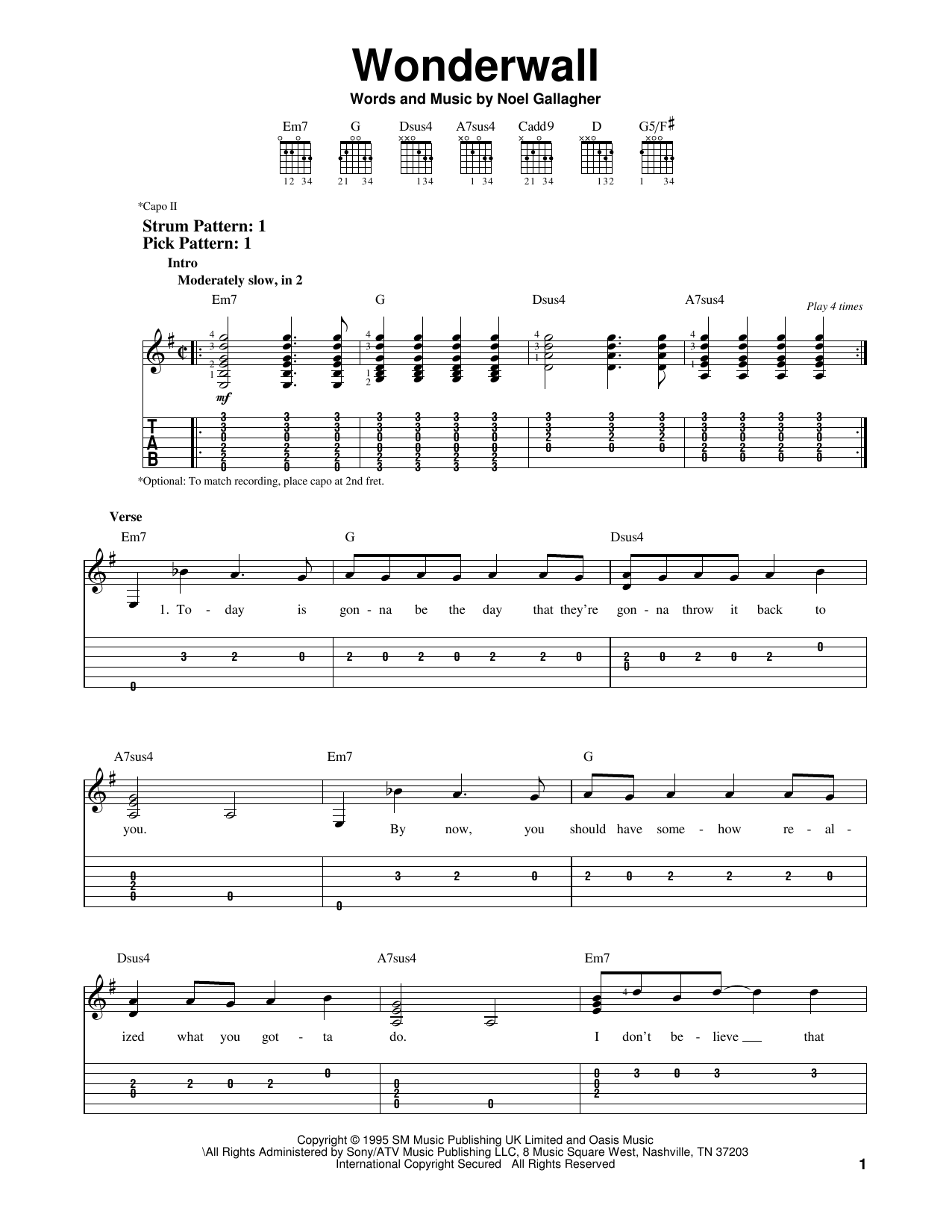 Wonderwall By Oasis Easy Guitar Tab Guitar Instructor