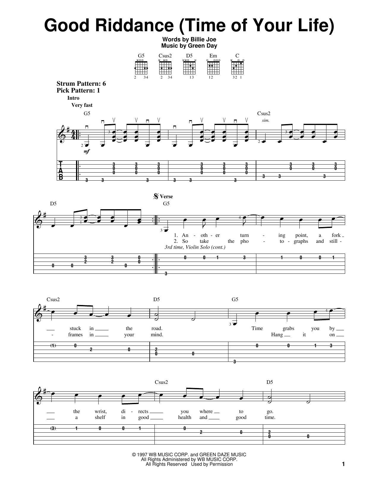 Good Riddance Time Of Your Life By Green Day Easy Guitar Tab