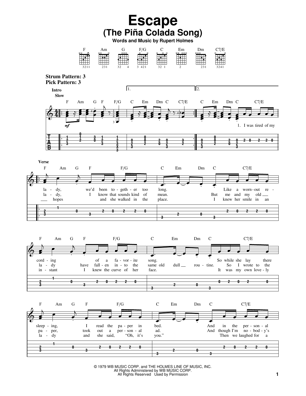 Escape (The Pina Colada Song) Sheet Music