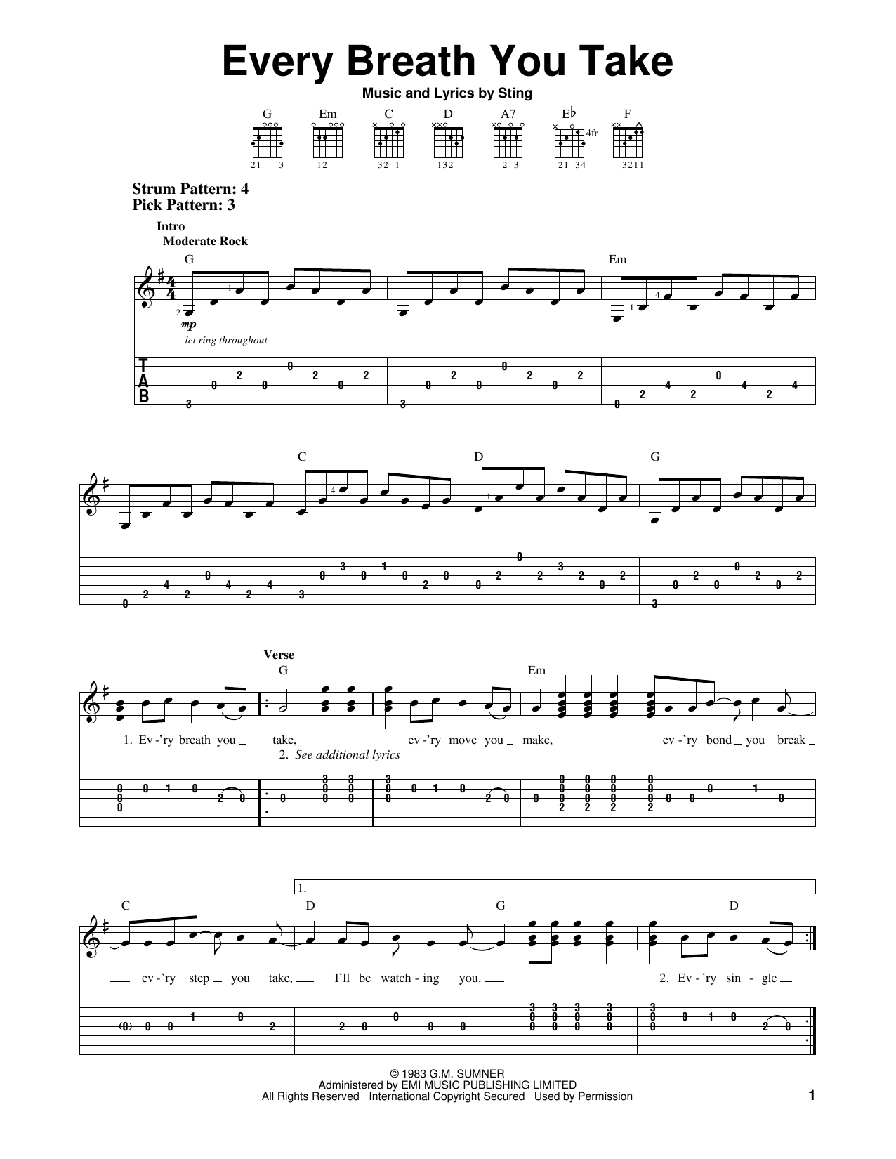 Tablature guitare Every Breath You Take de The Police - Tablature guitare facile