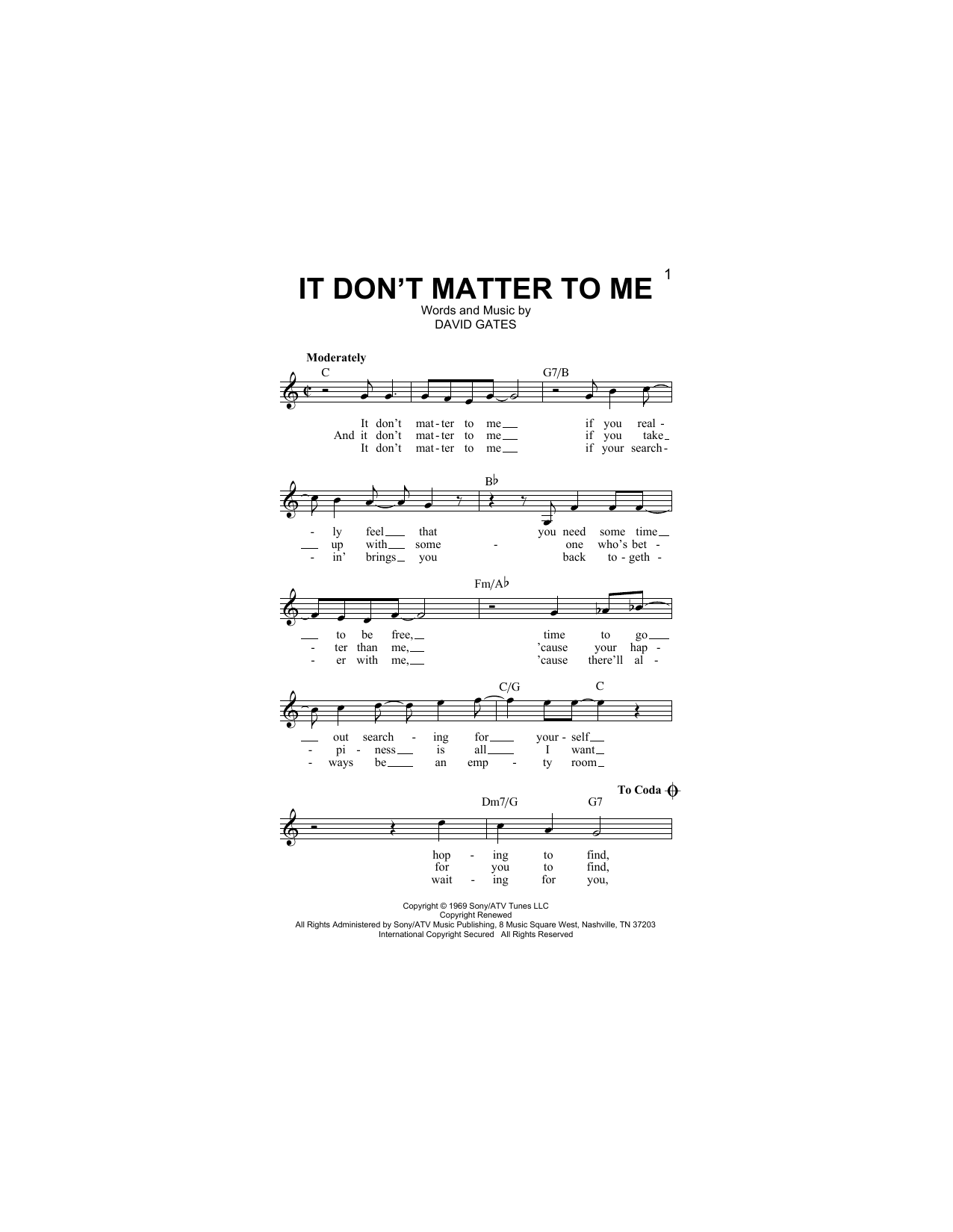 It Don't Matter To Me Sheet Music