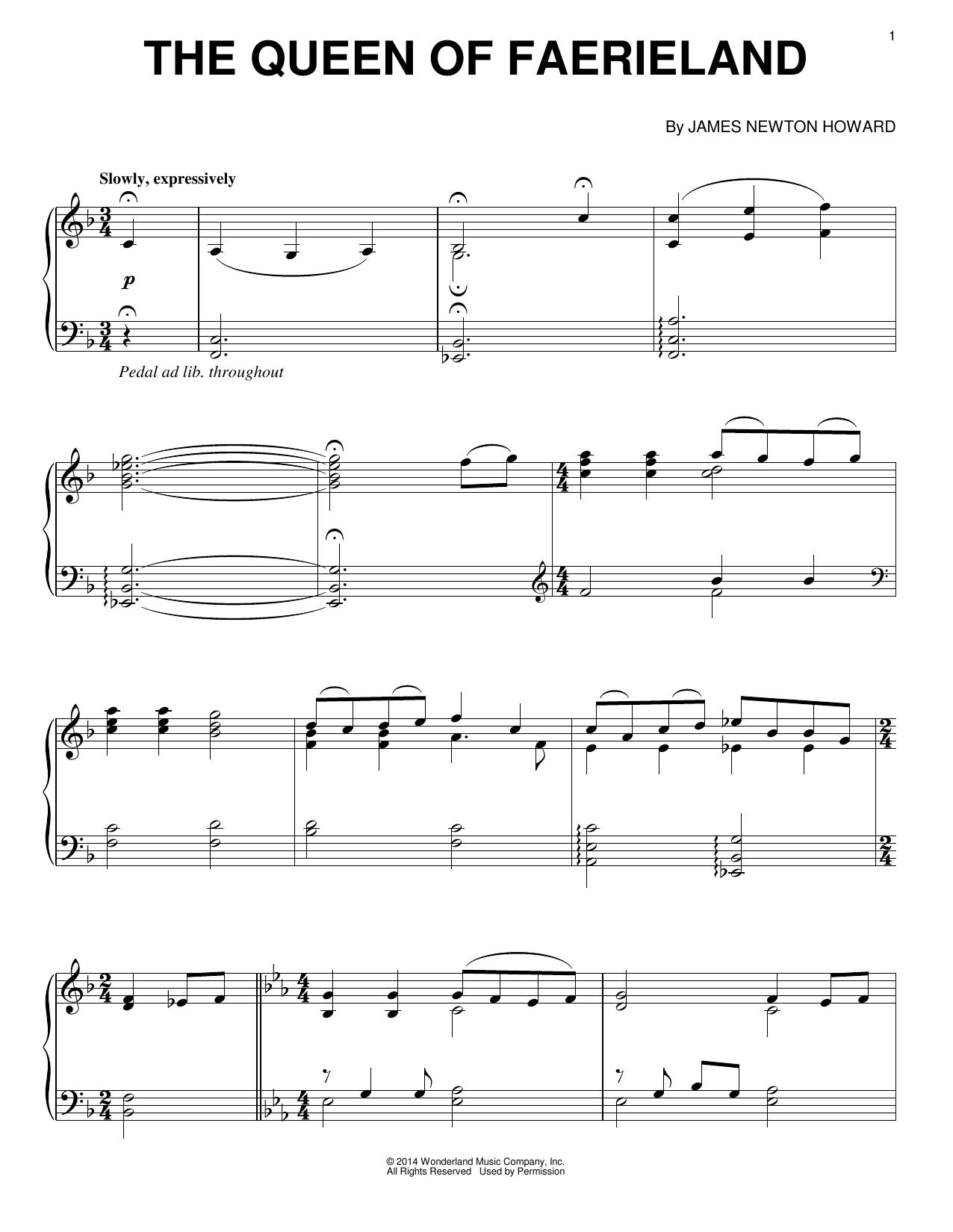Partition piano The Queen Of Faerieland de James Newton Howard - Piano Solo