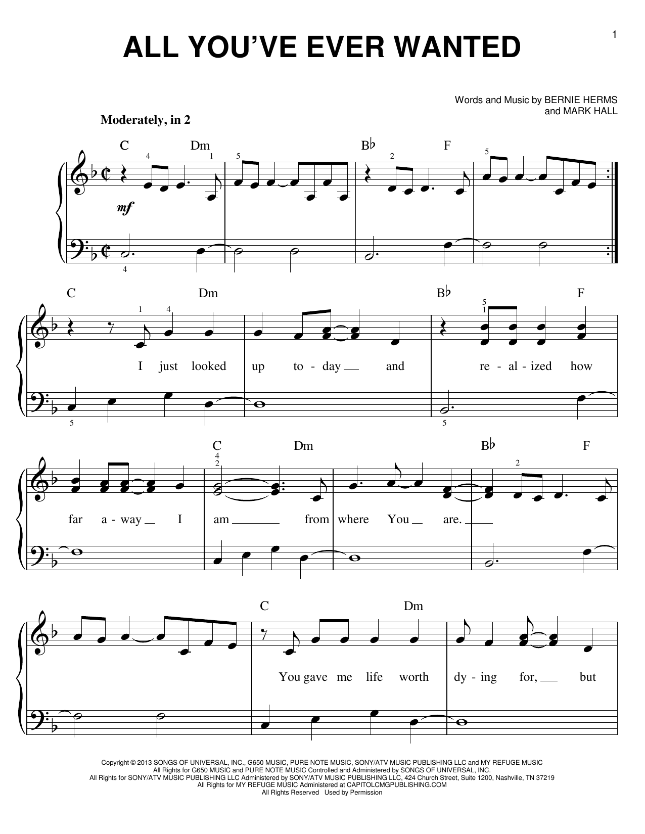 All You've Ever Wanted Sheet Music