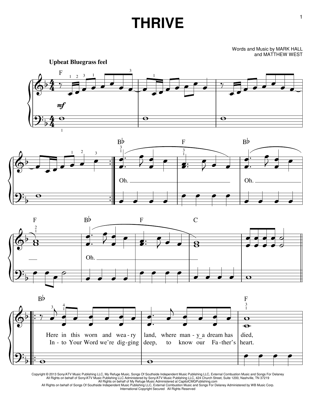 Thrive Sheet Music