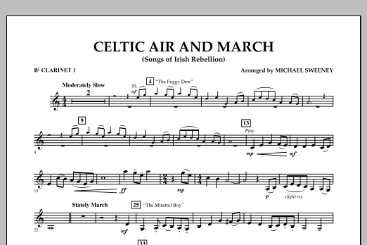 Celtic Air and March (Songs of Irish Rebellion) - Bb Clarinet 1 (Concert Band)
