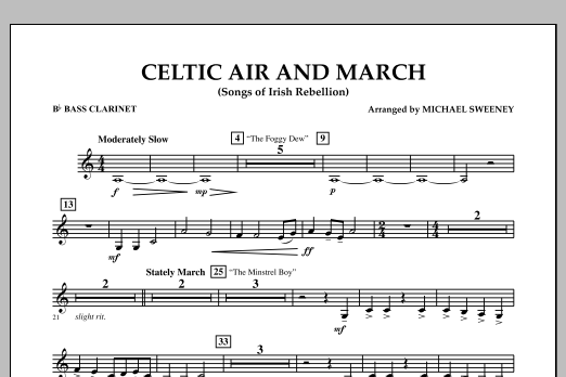 Celtic Air and March (Songs of Irish Rebellion) - Bb Bass Clarinet (Concert Band)