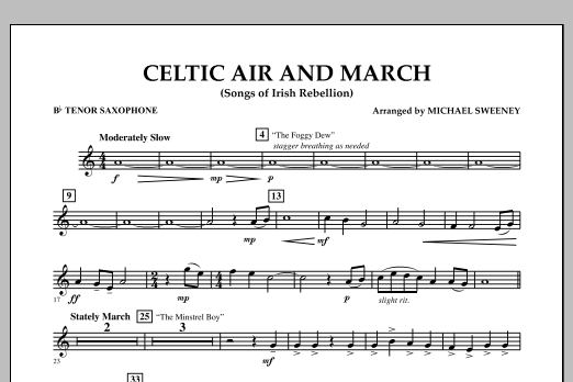 Celtic Air and March (Songs of Irish Rebellion) - Bb Tenor Saxophone (Concert Band)