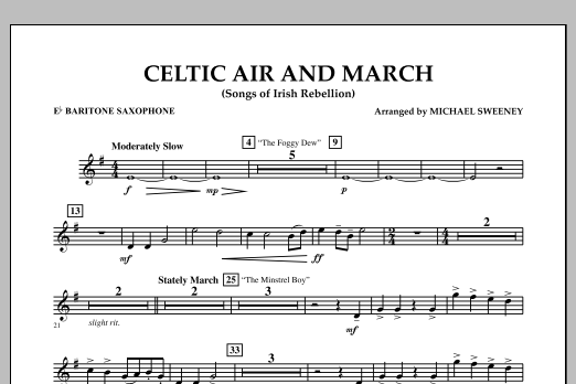 Celtic Air and March (Songs of Irish Rebellion) - Eb Baritone Saxophone (Concert Band)