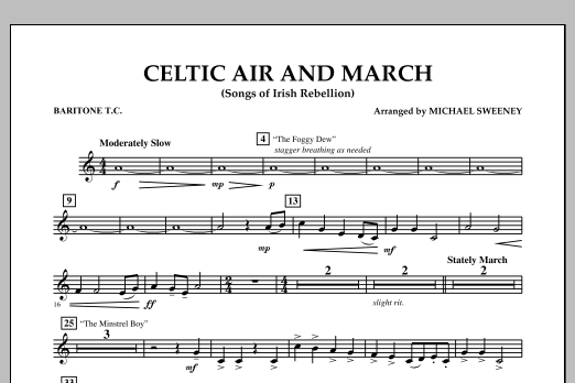 Celtic Air and March (Songs of Irish Rebellion) - Baritone T.C. (Concert Band)