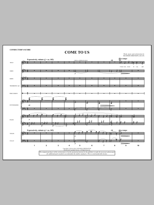 Come to Us (COMPLETE) sheet music for orchestra/band by Heather Sorenson. Score Image Preview.