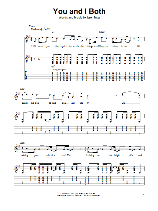 Tablature guitare You and I Both de Jason Mraz - Autre