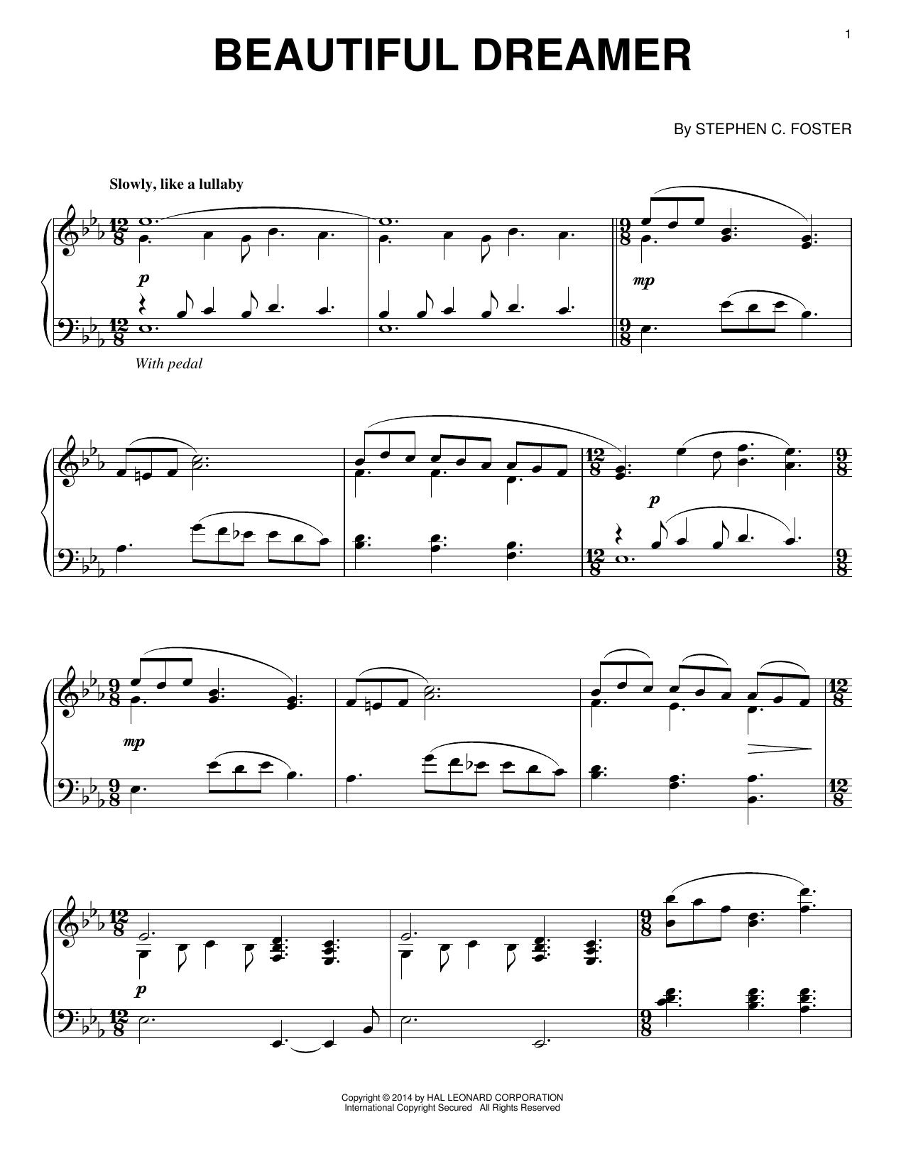 Partition piano Beautiful Dreamer de Stephen Foster - Piano Solo