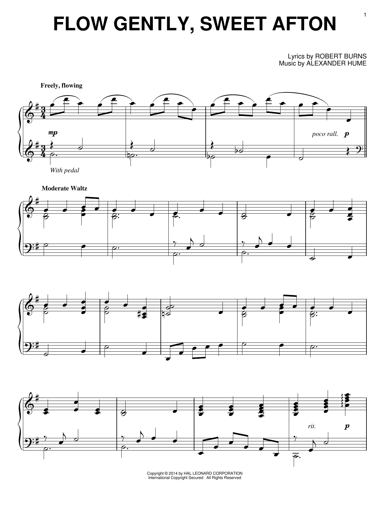 Partition piano Flow Gently, Sweet Afton de Robert Burns - Piano Solo
