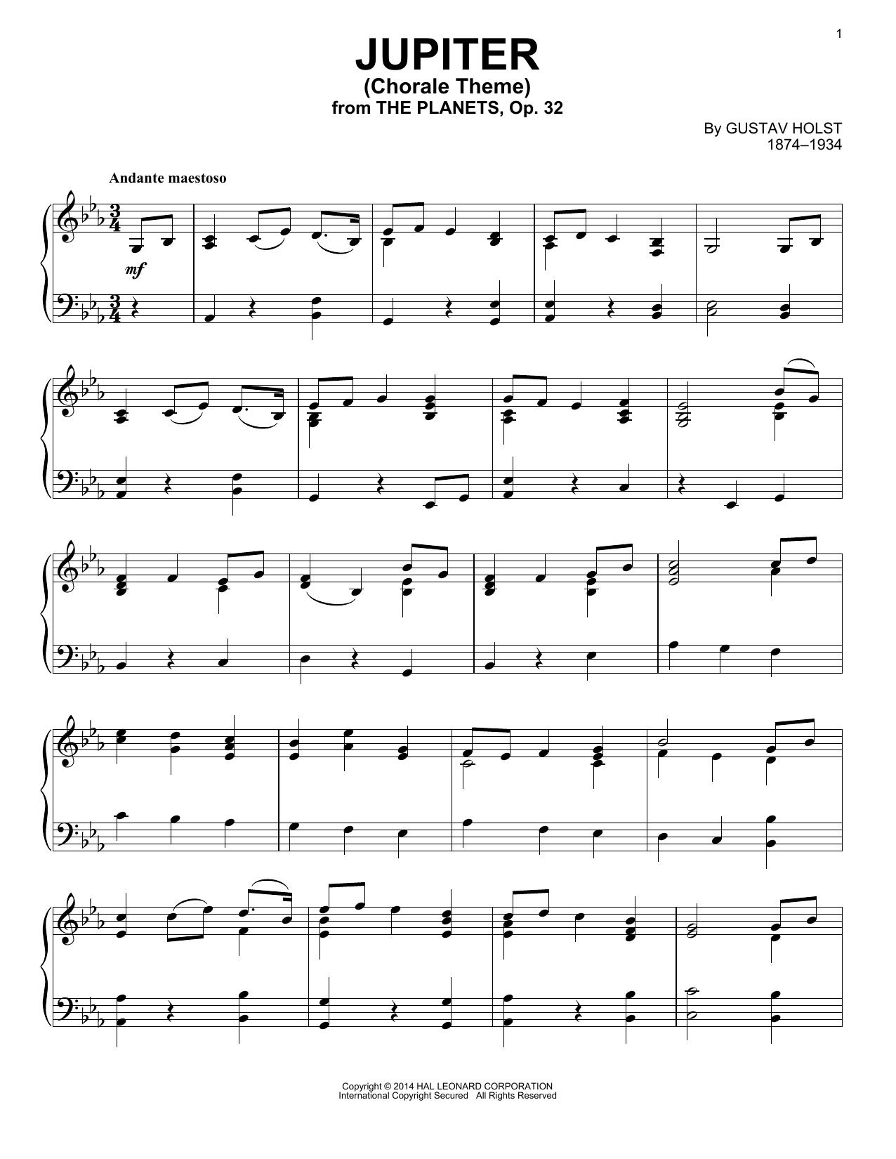Partition piano Jupiter de Gustav Holst - Piano Solo