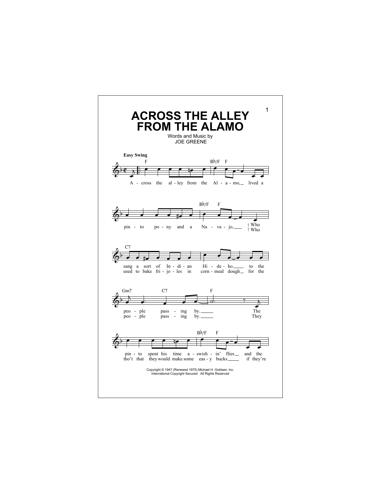 Across The Alley From The Alamo Sheet Music