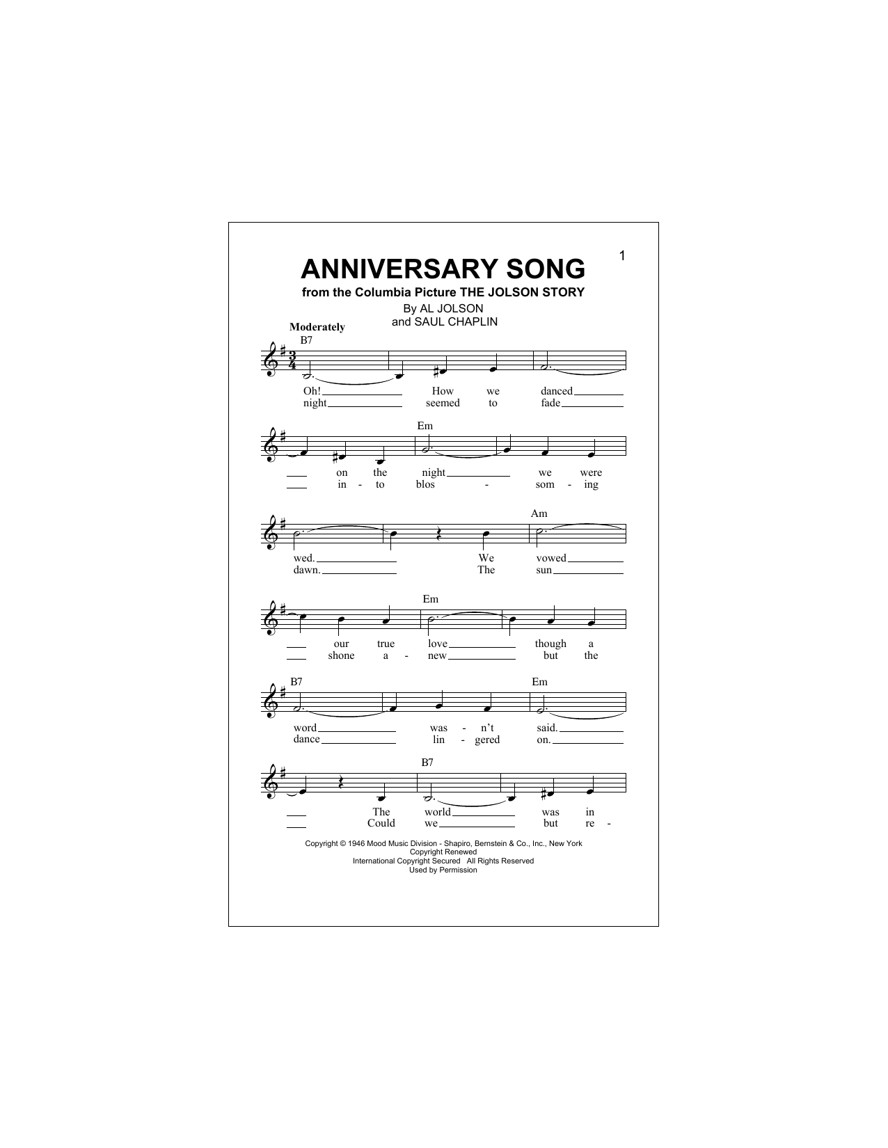 Anniversary Song (Lead Sheet / Fake Book)